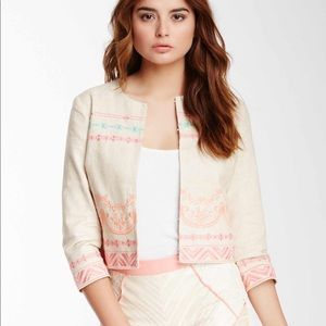 Champagne & Strawberry Embroidered Linen Jacket